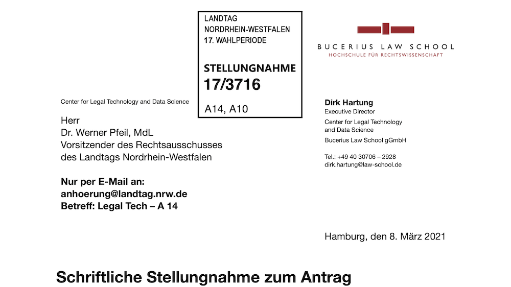 Statement on Legal Technology Education for the North Rhine-Westphalia state legislature (in German)